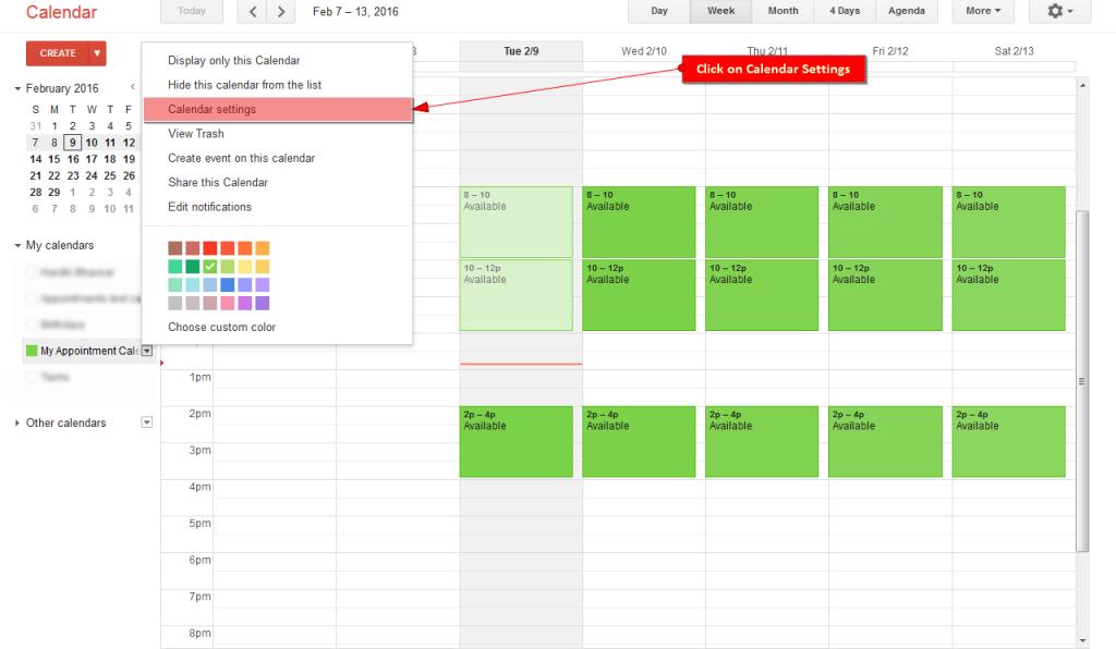 Click on Calendar Settings