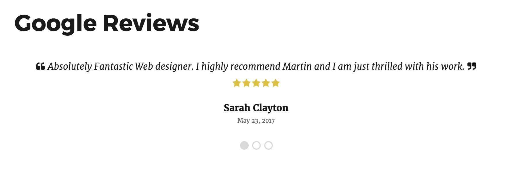 An example of the reviews display on the frontend