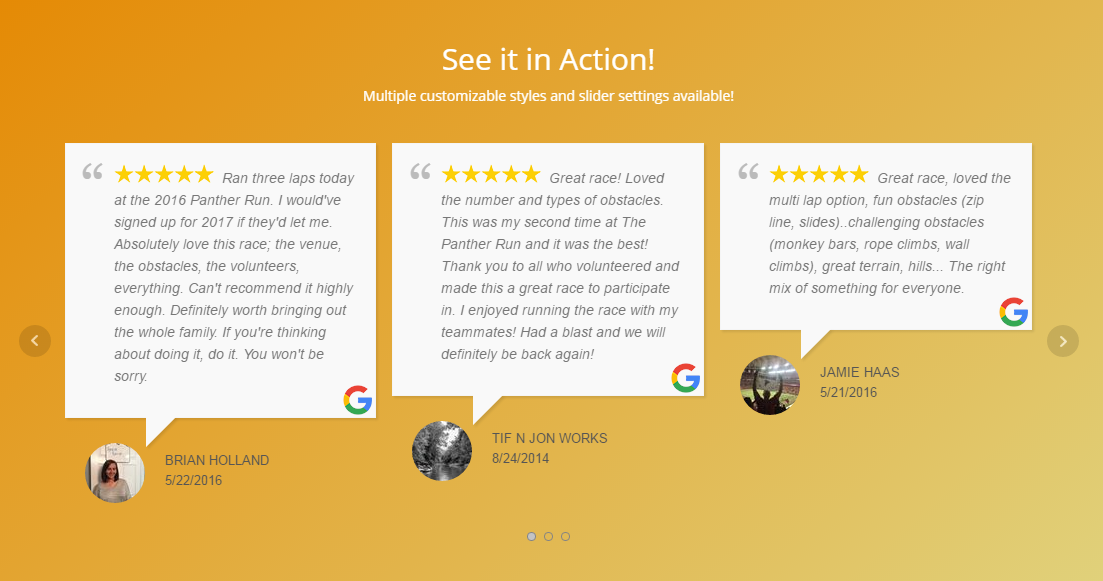 WP Google Review Slider