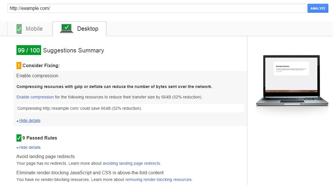 Google speed insight for desktop