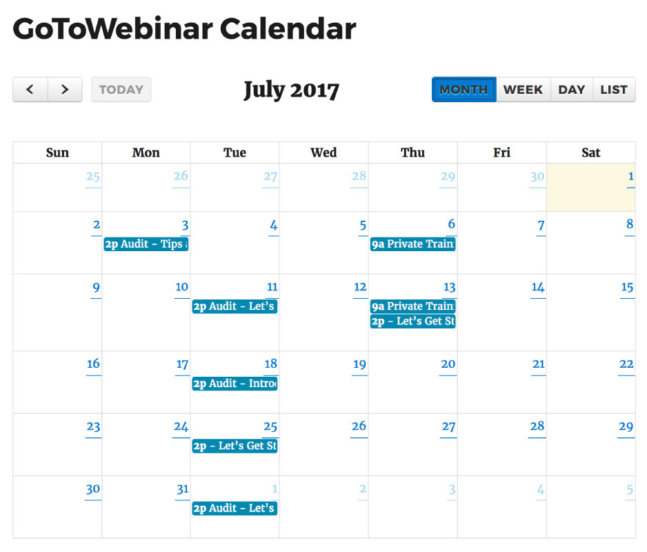 Calendar view of upcoming webinars