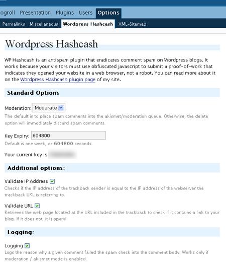 Wordpress Hashcash Options Screen