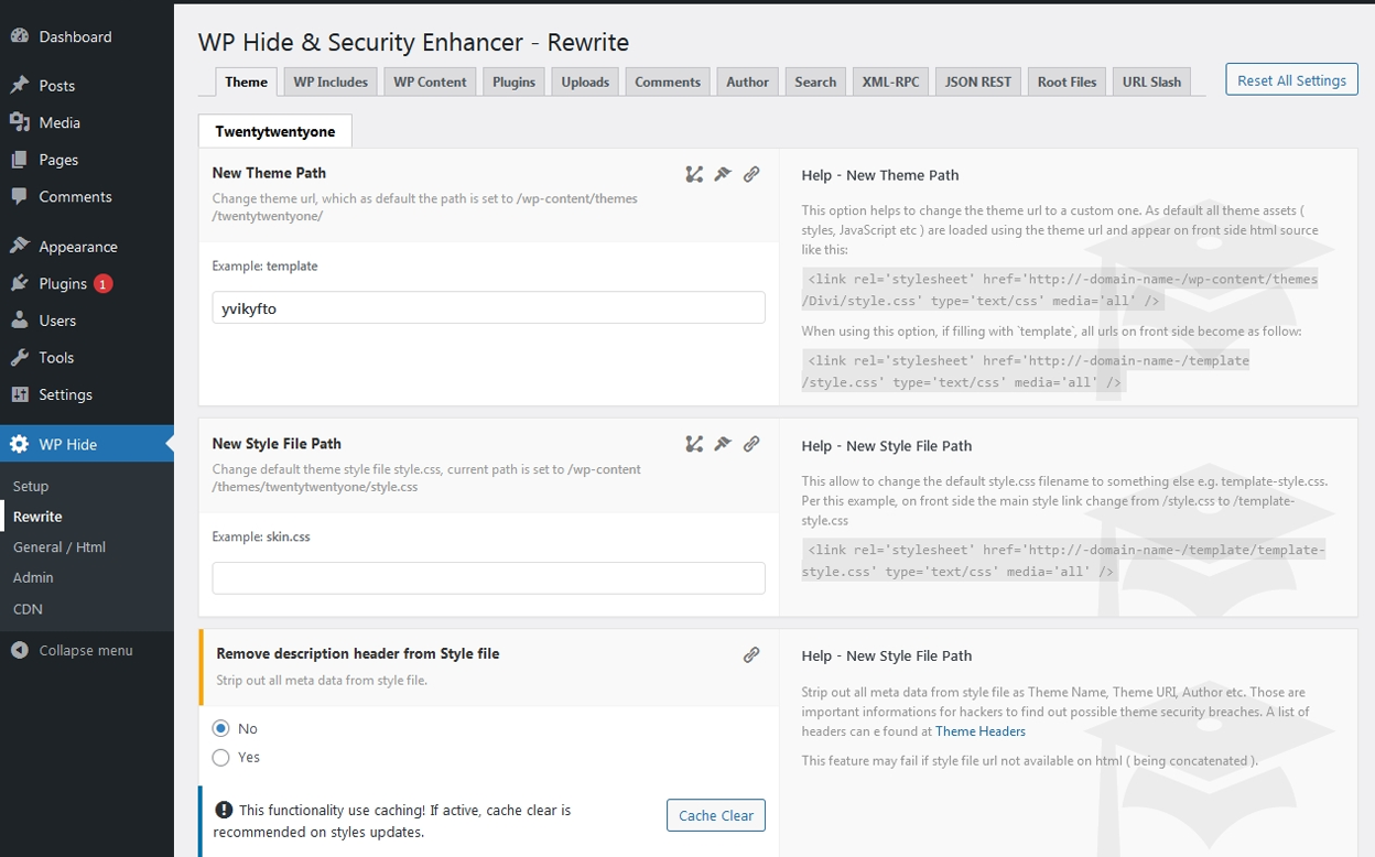 WP Hide & Security Enhancer - Plugin - Deutsch