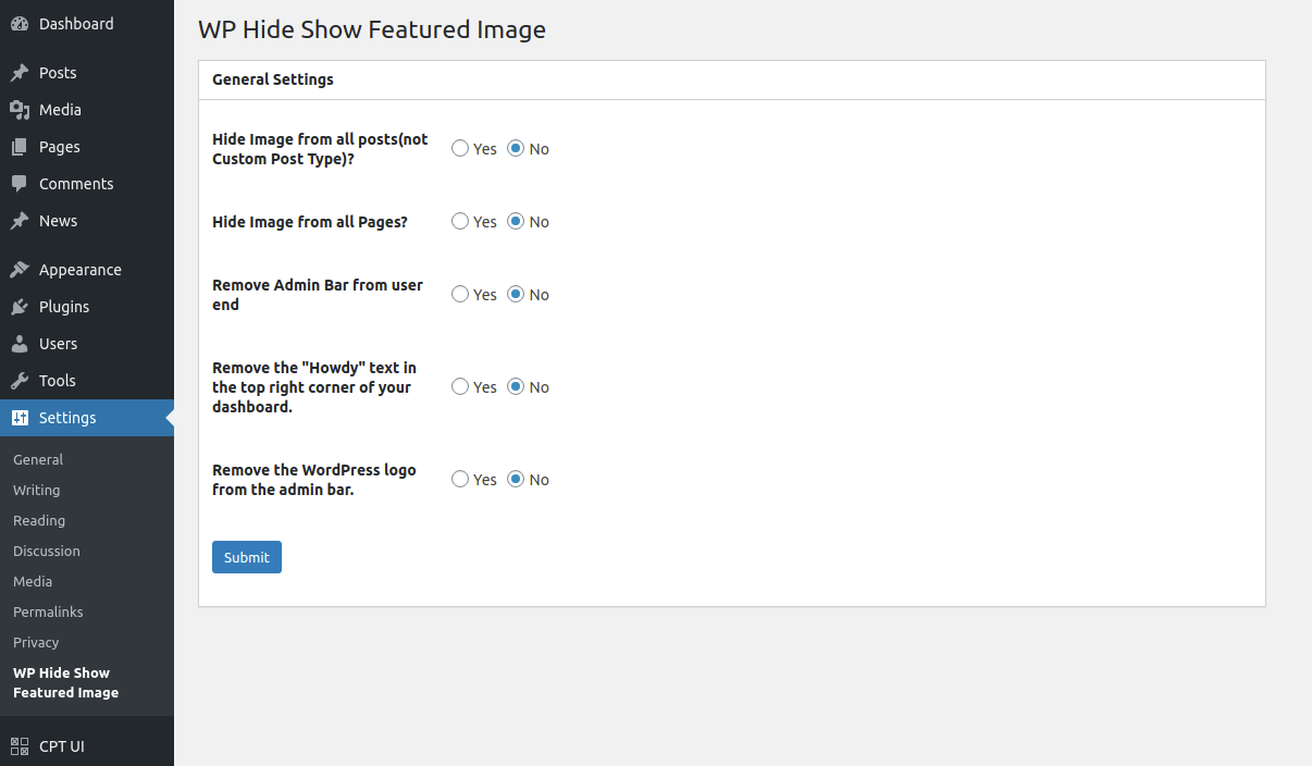 Hide Show Featured Image Settings options