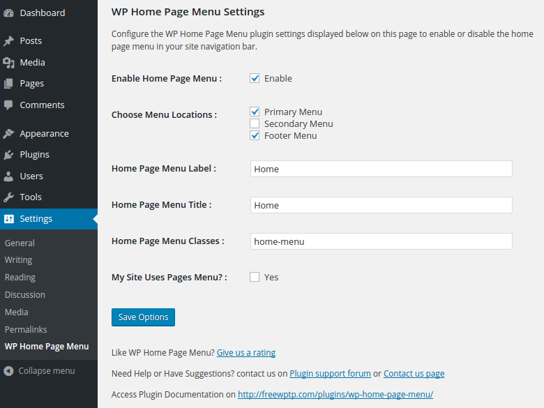 Plugin settings in the admin area of the site.