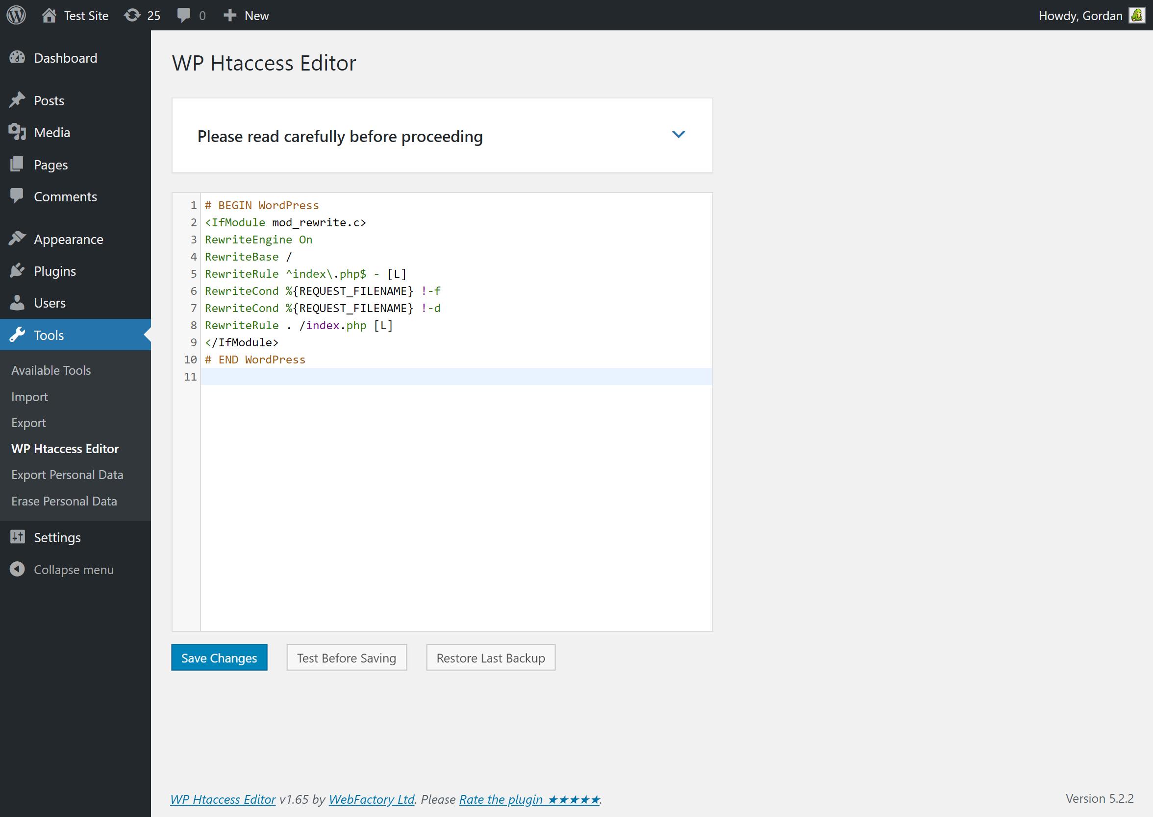 WP Htaccess Editor admin page
