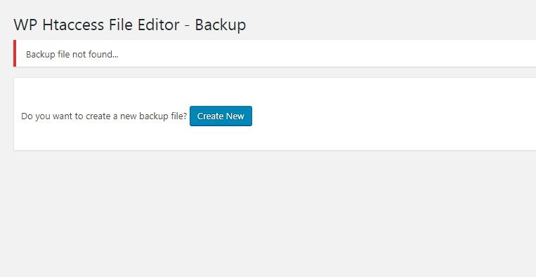 Create new backup file
