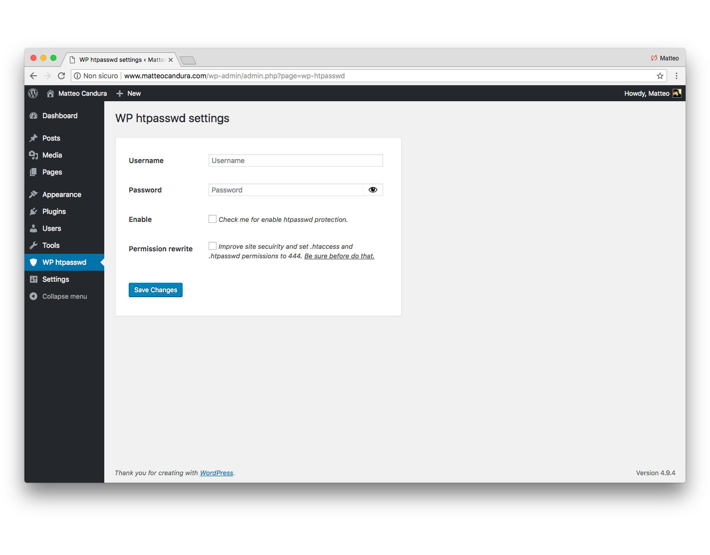 Sample view of the plugin page.