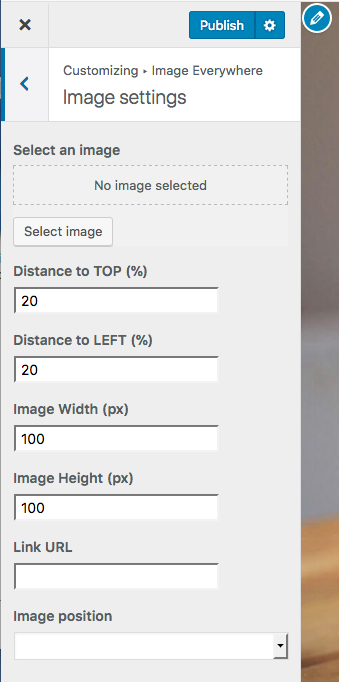 Customizer options for WP Image Anywhere