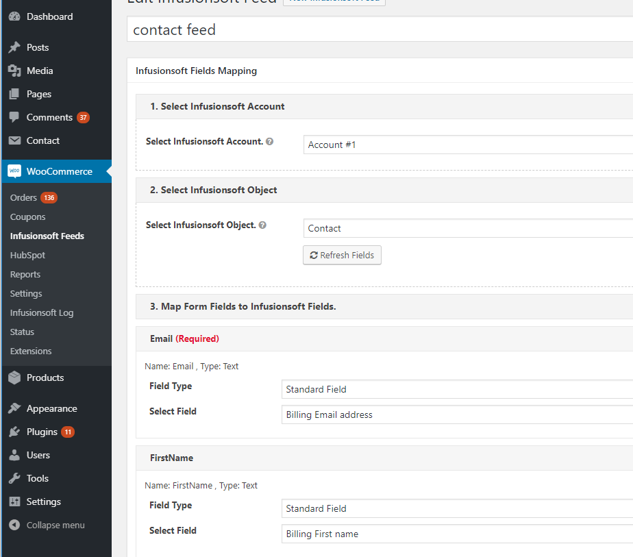 Map Infusionsoft Fields to WooCommerce Order fields.