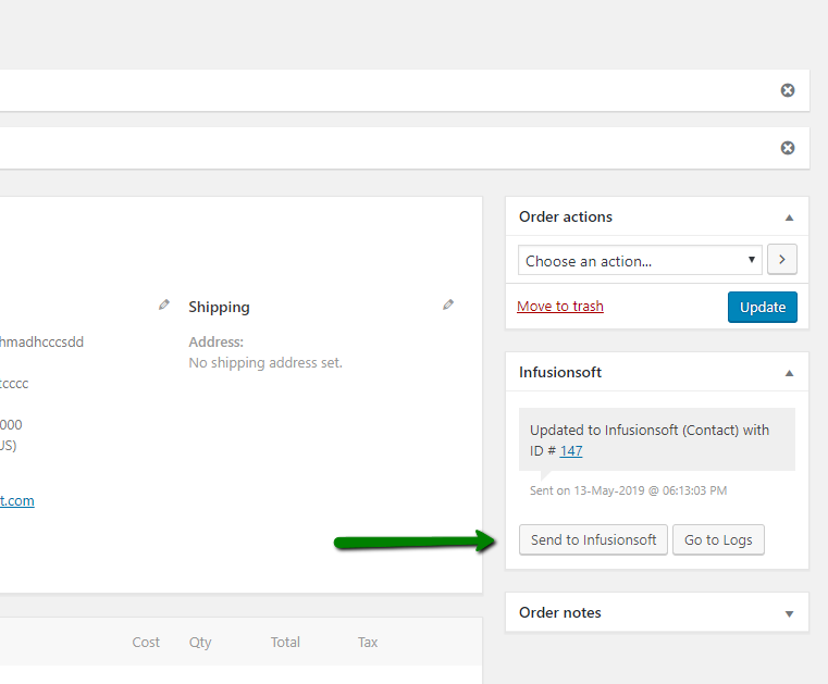 Send WooCommerce Order to Infusionsoft.