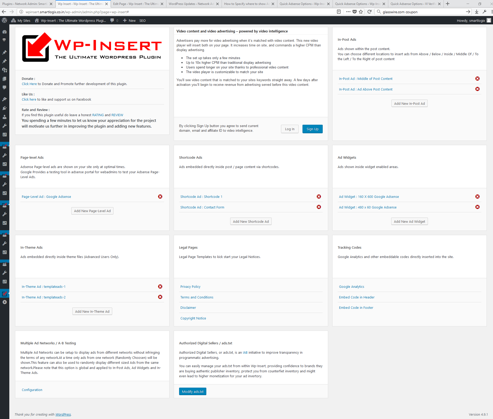 The New Unified plugin admin page.