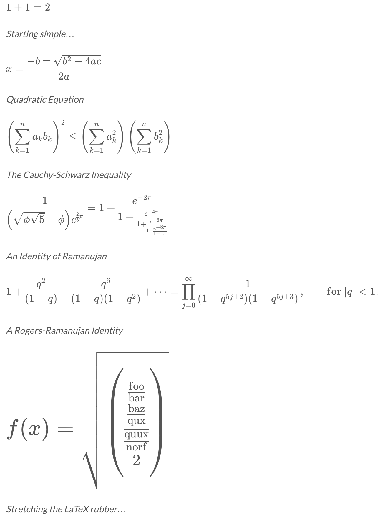 Various equations rendered with WP-KaTeX
