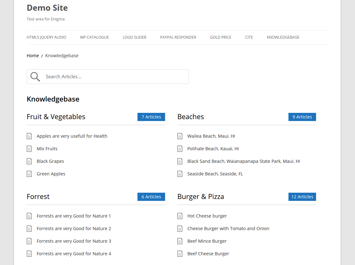 An Example Of Wp Knowledgebase In Action Main Kb Home View