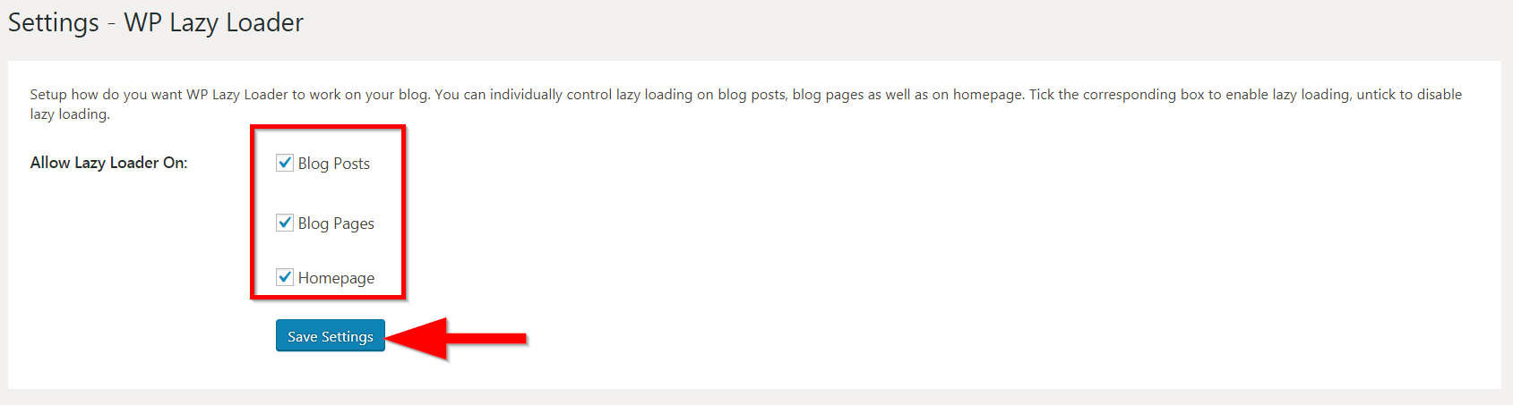 The settings page of WP Lazy Loader plugin.