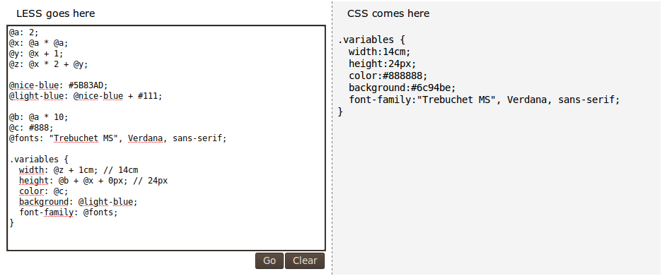 Sample of LESS to CSS conversion.