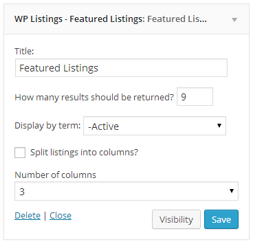 <p>Featured Listing Widget settings</p>