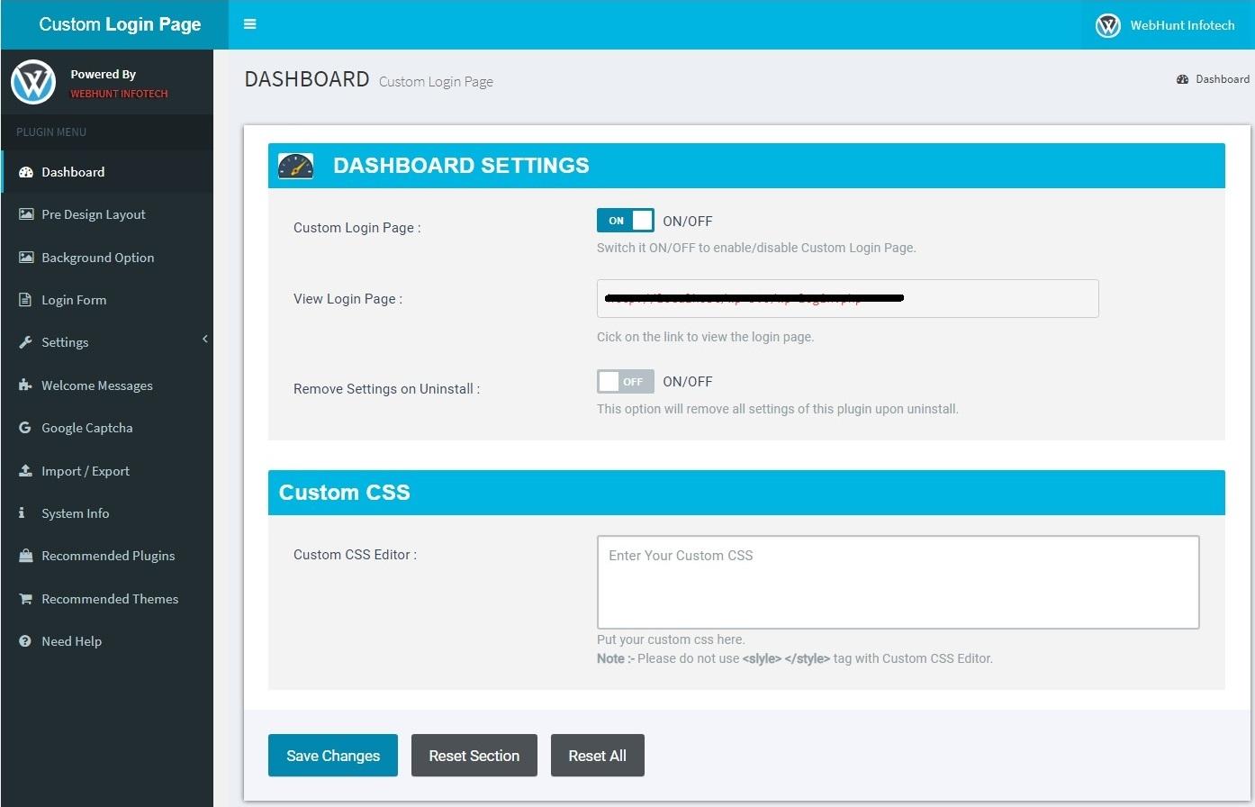 Plugin Setting Dashboard