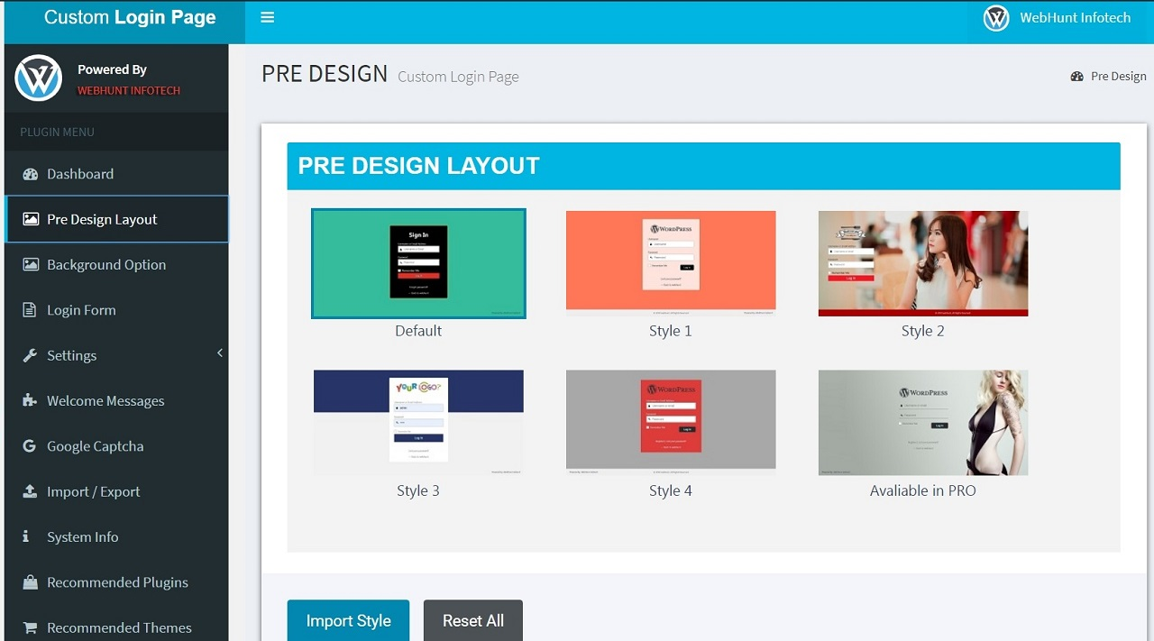 Pre Design Layout with Importer