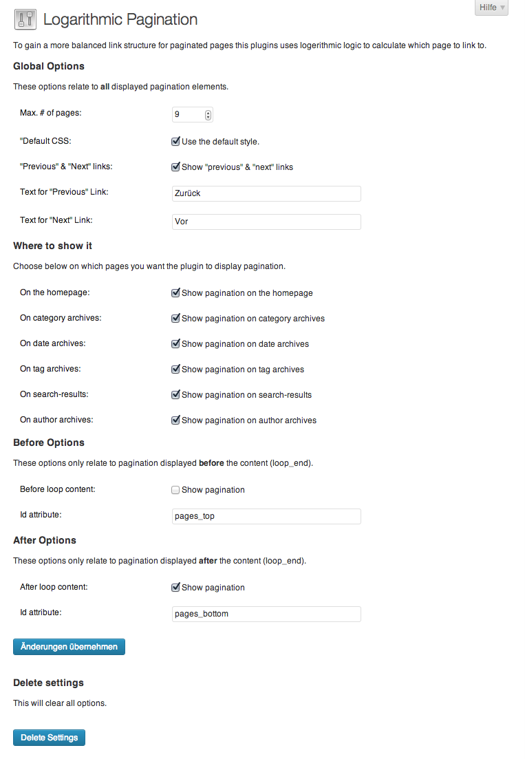 This is the Settings page of wp-lopa