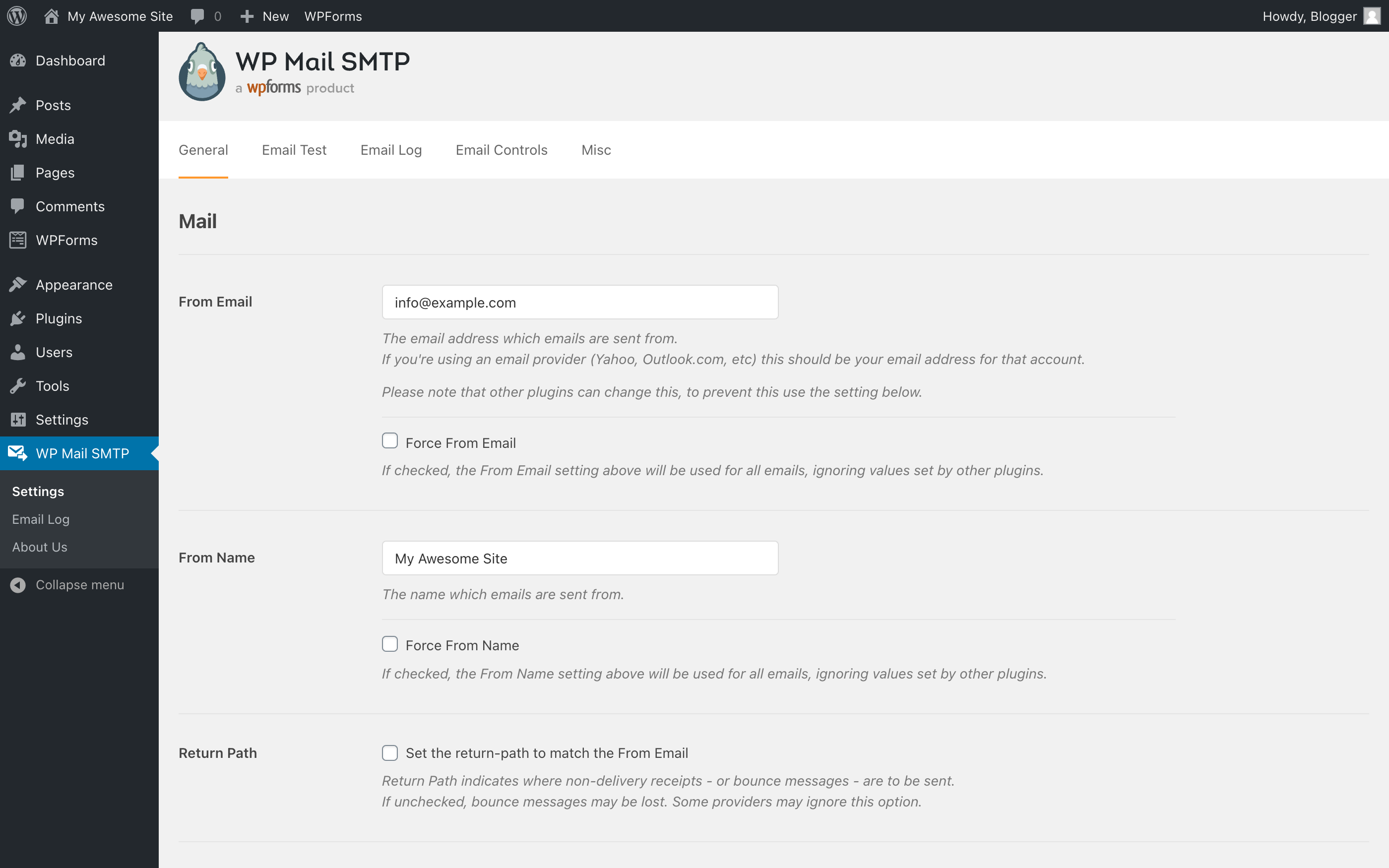 WP Mail SMTP Settings page