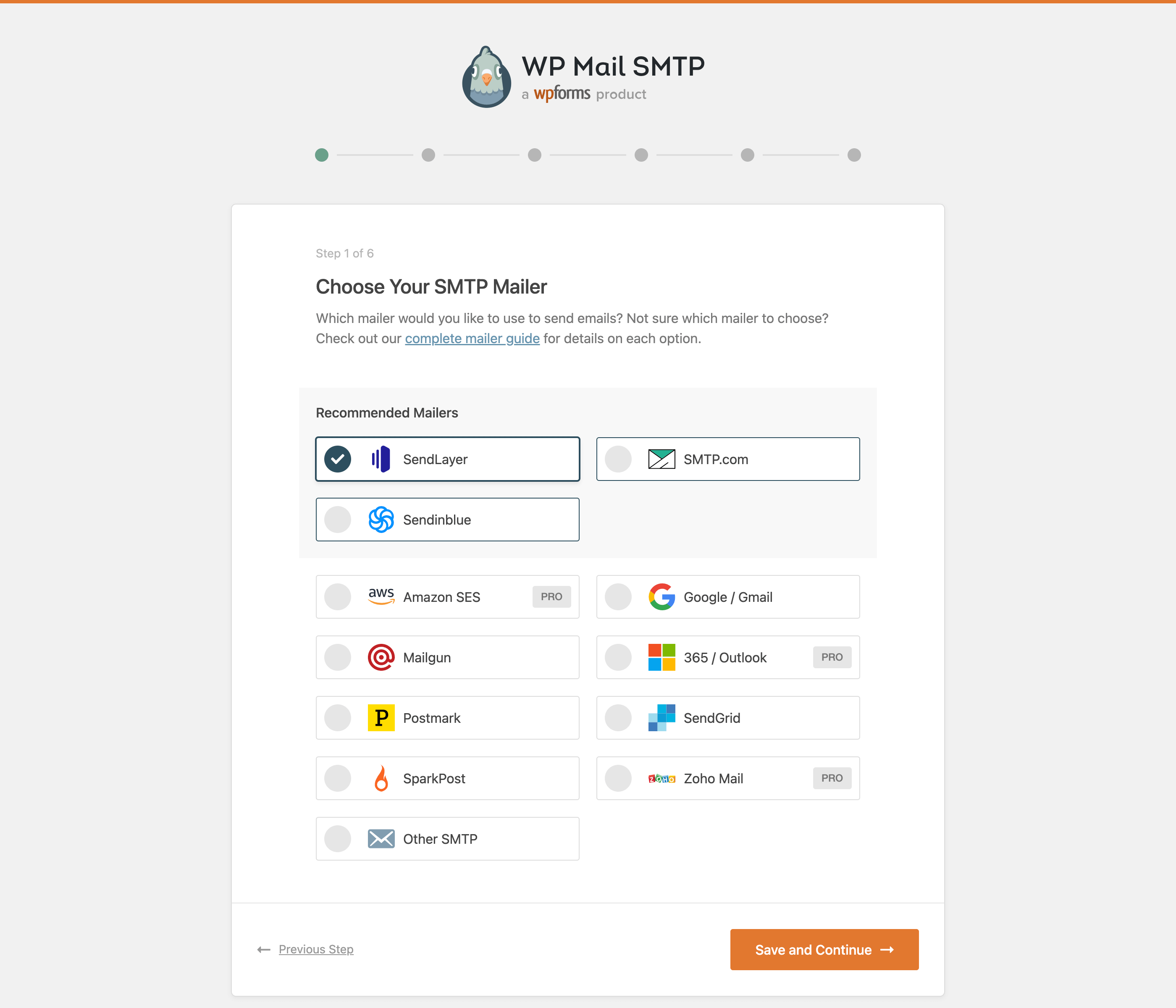 Setup Wizard - Select your mailer