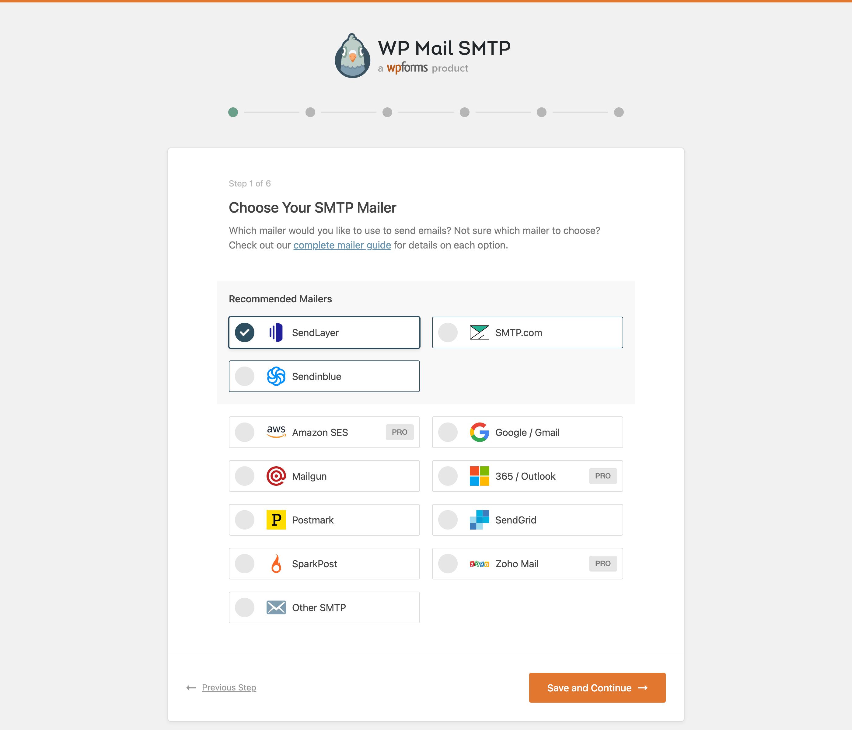 Setup Wizard - Select your mailer