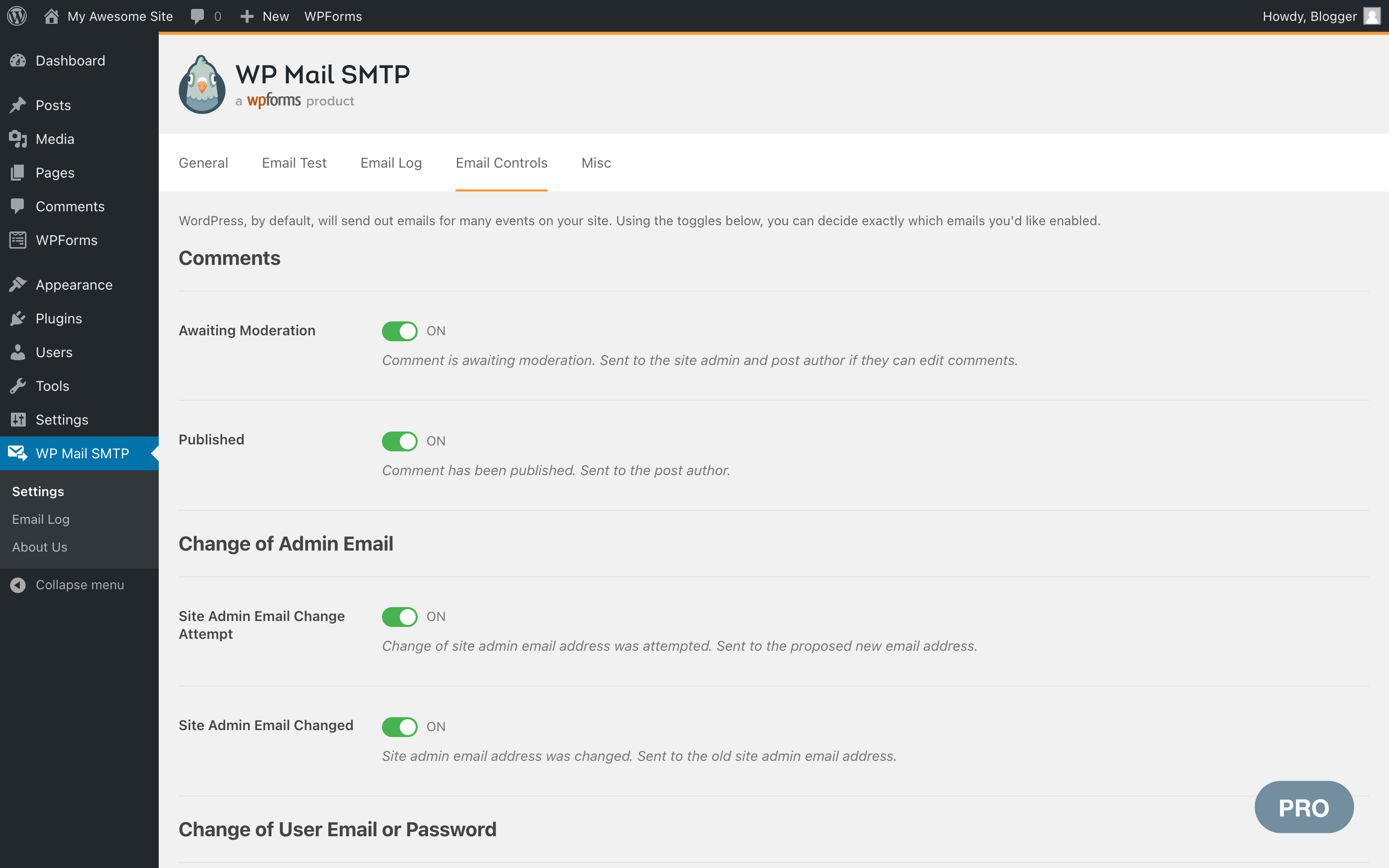 Email Controls settings page (Pro)