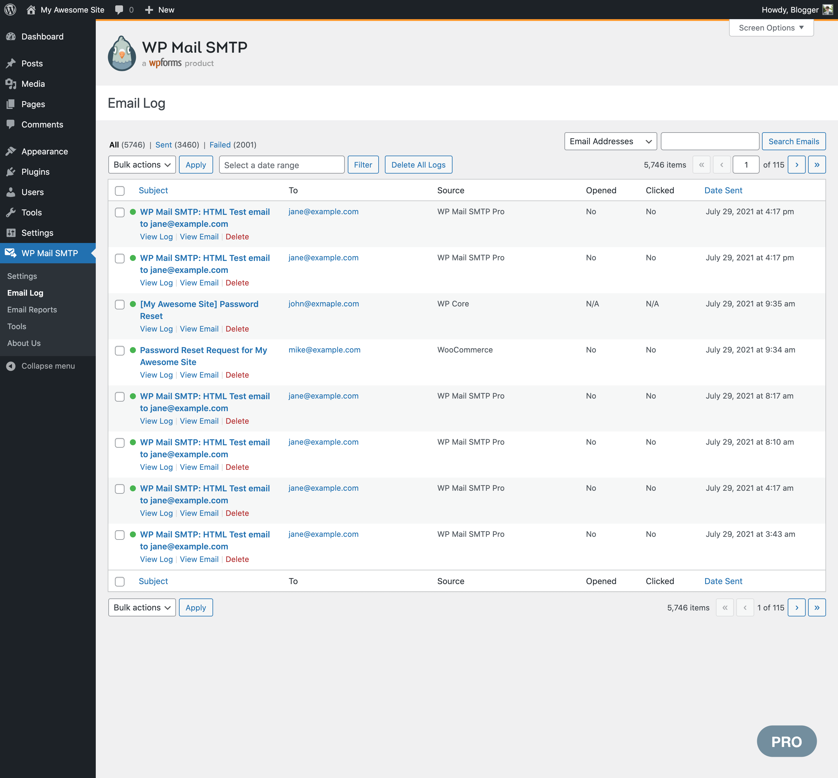 Email Log archive page (Pro)