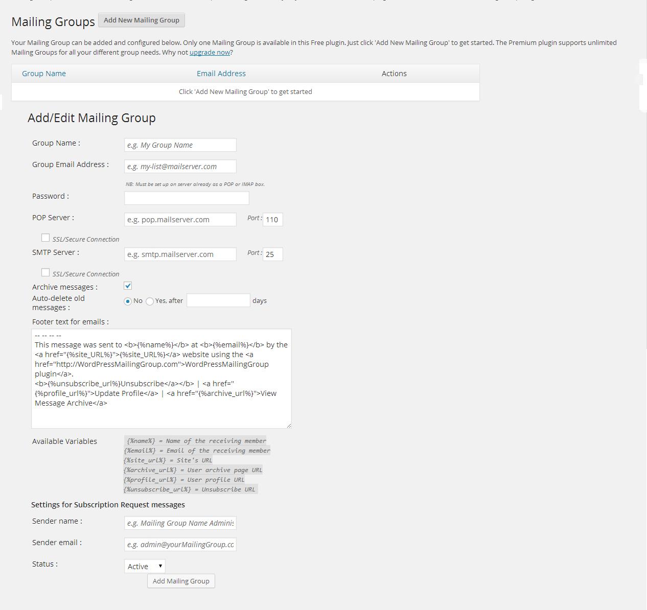 Mailing Group Listserv – WordPress plugin | WordPress org