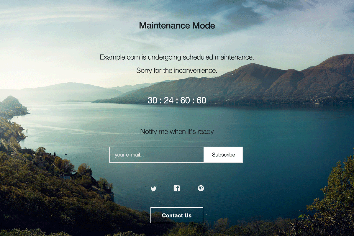 wordpress splash page template - wp maintenance mode