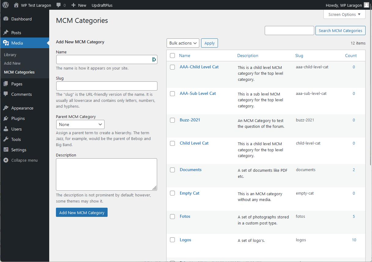 WP Media Category Management – WordPress plugin  