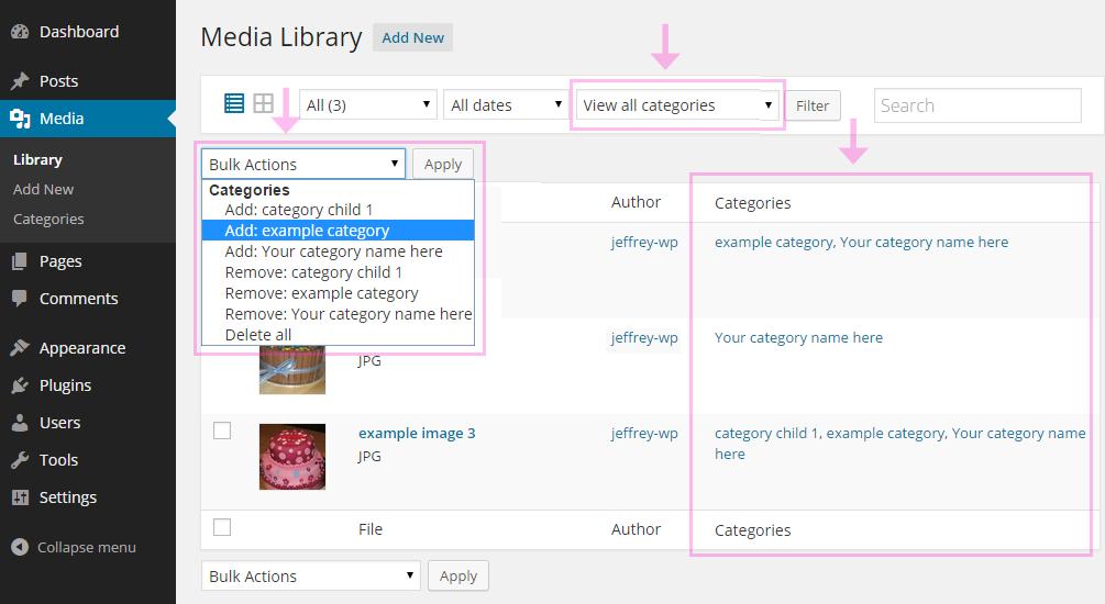 メディアライブラリーのカテゴリ別に絞り込み検索 します。 一括して複数の画像のカテゴリを追加または削除するには、一括操作を使用します。