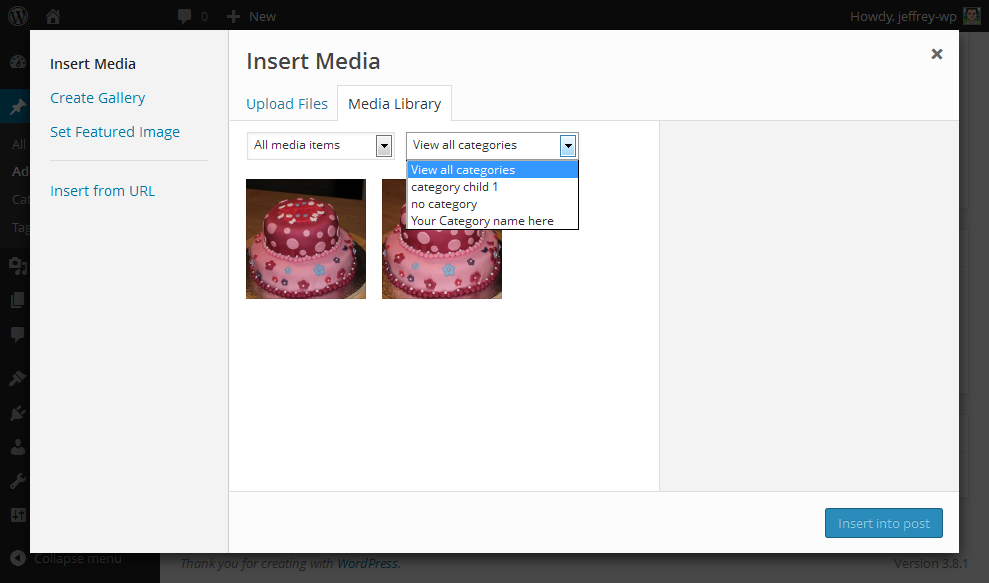 Filter by category when inserting media (premium version)
