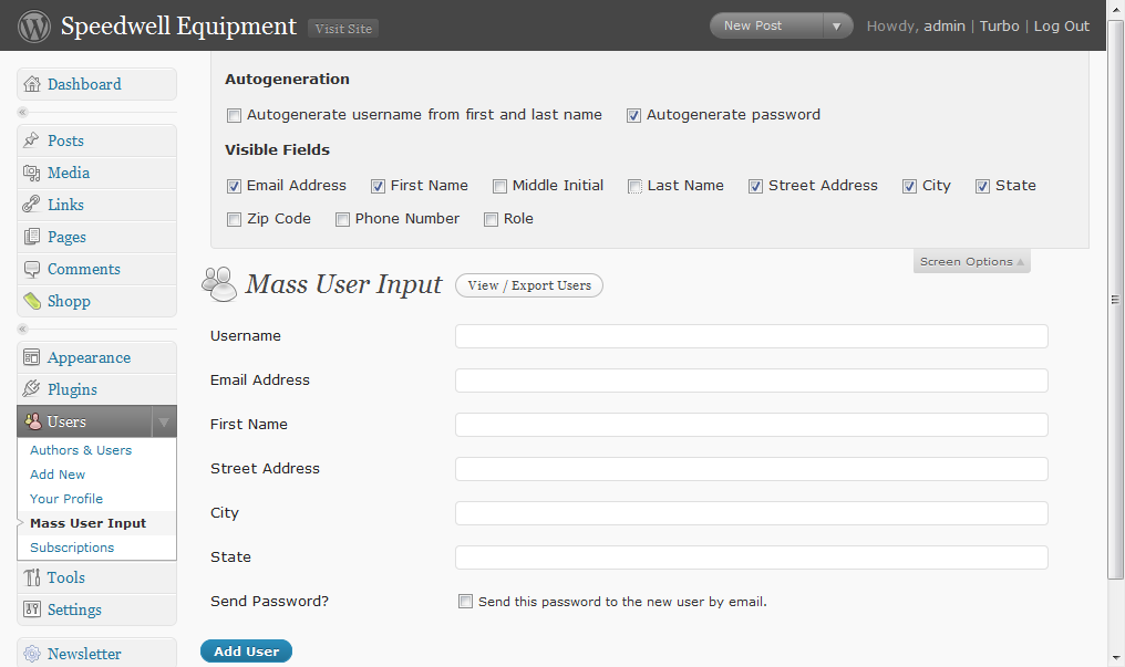 User Entry Page