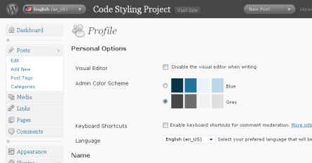 user profile setting extension