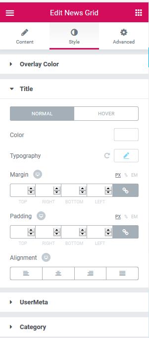 Elementor Style Option