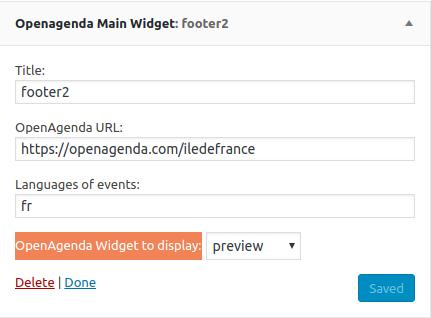 Display OpenAgenda widget in a great WP Widget