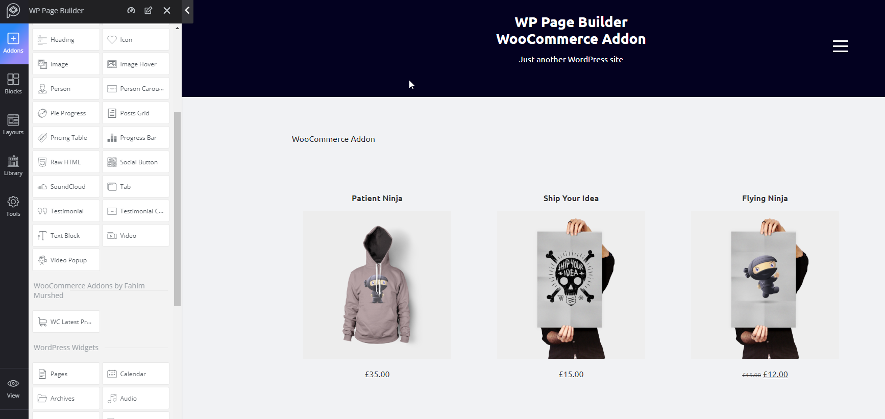 WP Page Builder WooCommerce Addon