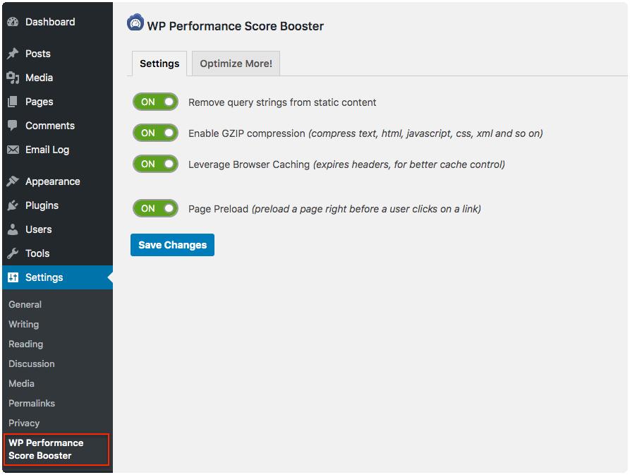 wp-performance-score-booster screenshot
