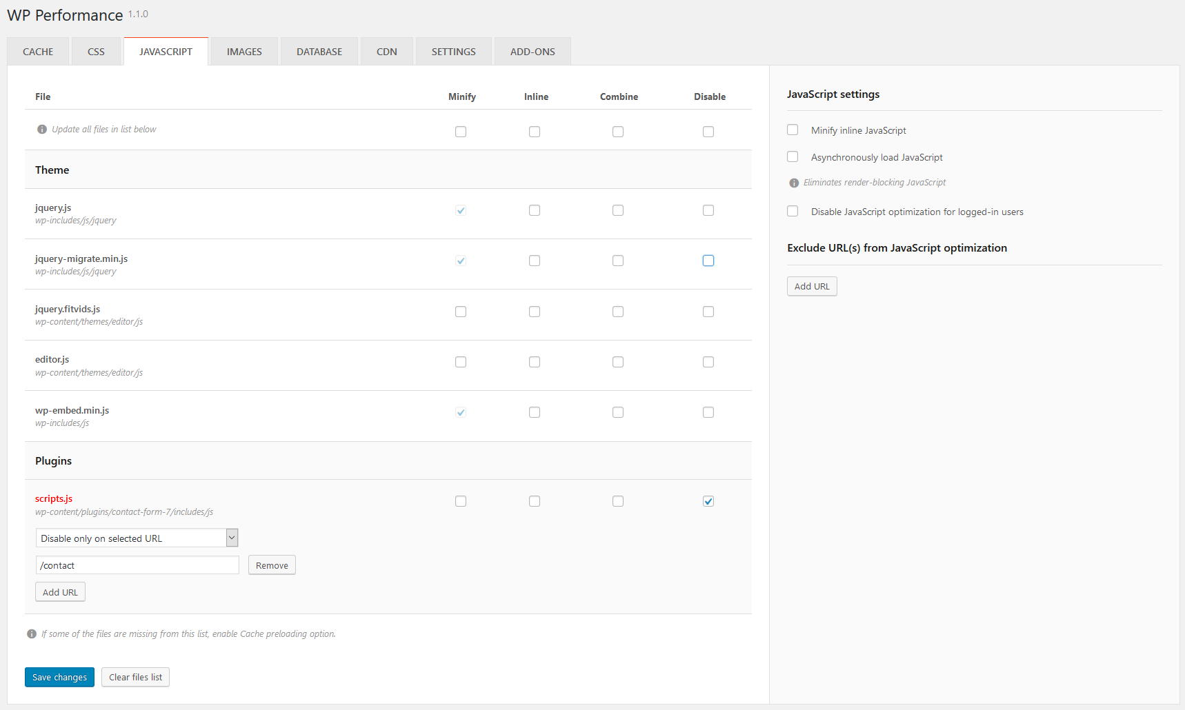 JavaScript optimization page