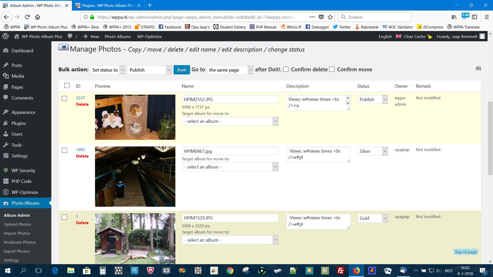 Bulk edit photo information screen