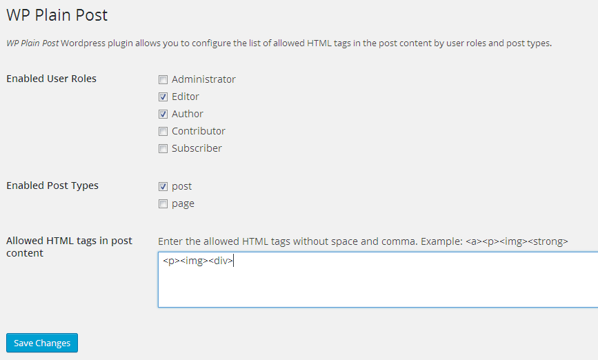 WP Plain Text Post configurations.