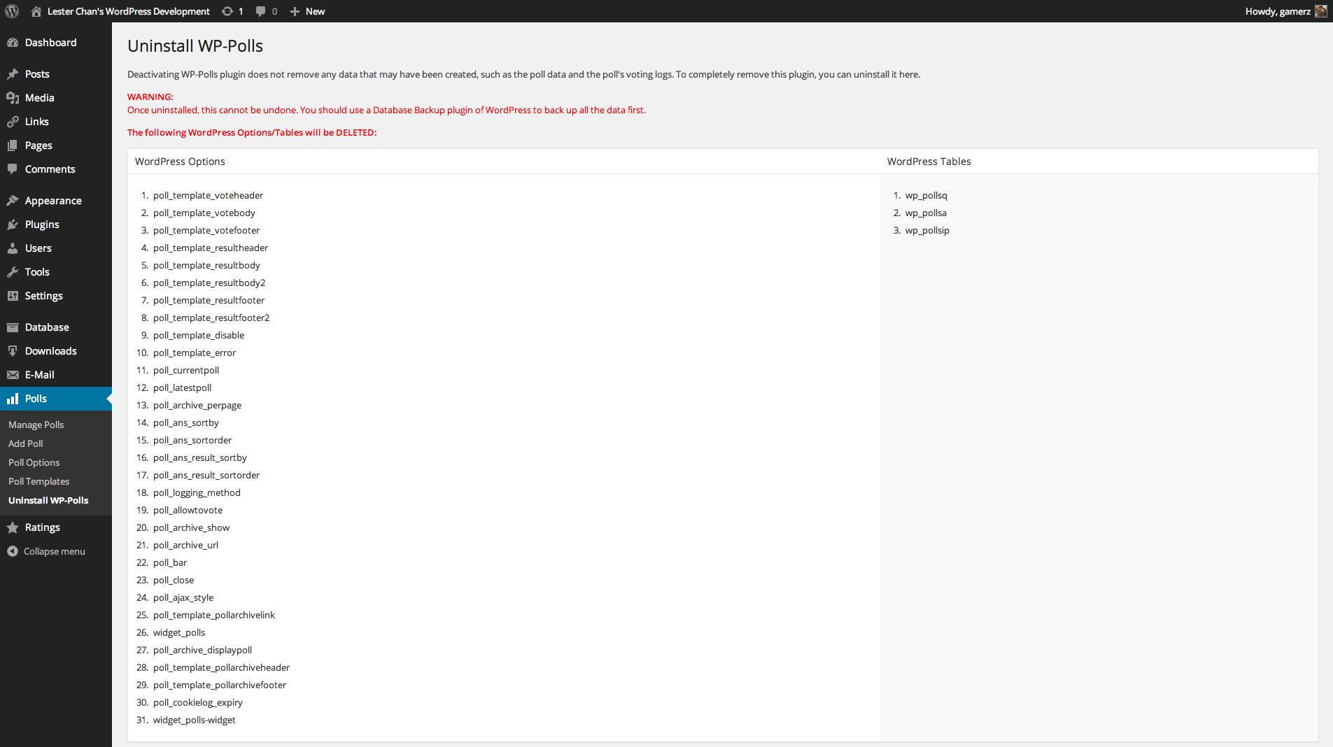 WP-Polls's Screenshot: Admin - Uninstall Poll