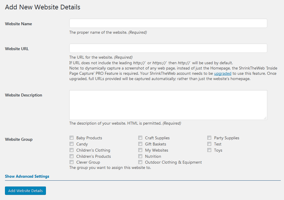 The form for adding a new website.