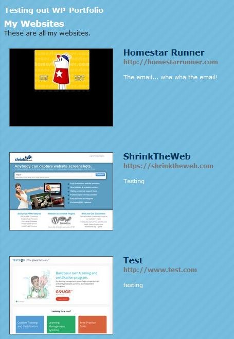 Public display of website thumbnails in 1 columns with urls description.