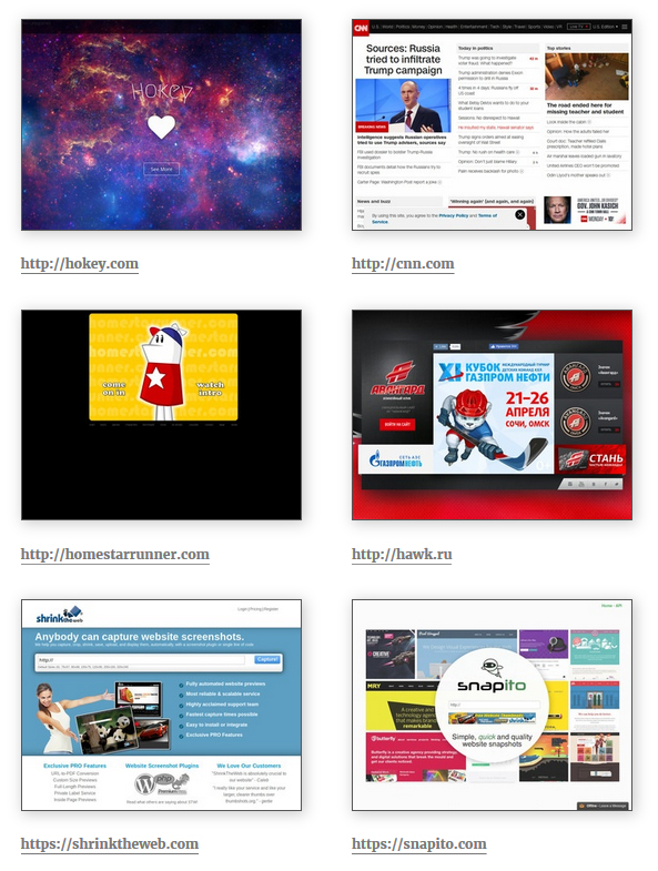Public display of website thumbnails in 2 columns with urls description.