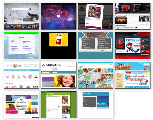 Public display of website thumbnails in 4 columns.