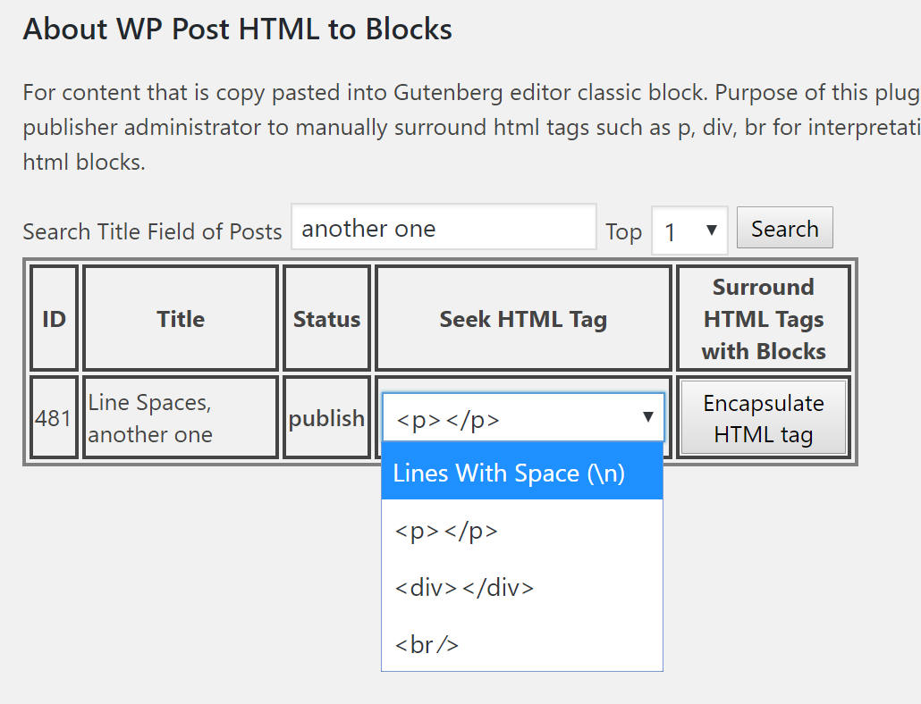 Configuration page selecting a tag for searching through.