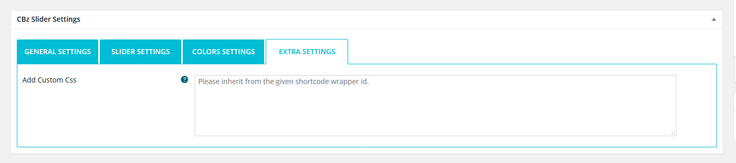 Extra settings for css additional css